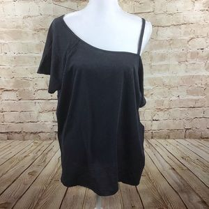 Free People Gray Cold Shoulder Coraline Tee  Large